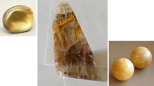 золотистые шары нефрита и не обработанный нефрит